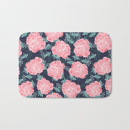 Peony Flowers navy pink and white modern colors for office home or college dorm decor Bath Mat