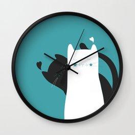 Black White Cats Wall Clock