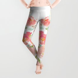 Watercolor Peonies Summer Bouquet Leggings