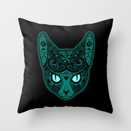 Blue Day of the Dead Sugar Skull Cat Throw Pillow