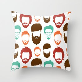Manly Mustache Beard Trendy Stylish Hair Shaving Gift Throw Pillow