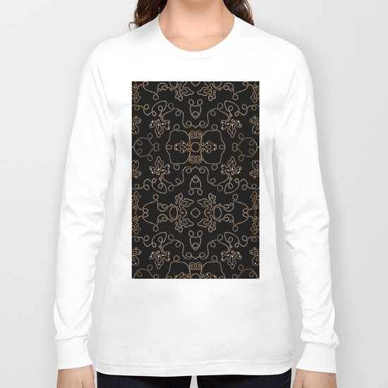 Elegant gold embellishments on black Long Sleeve T-shirt