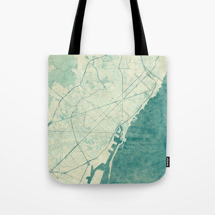 Barcelona Map Blue Vintage Tote Bag