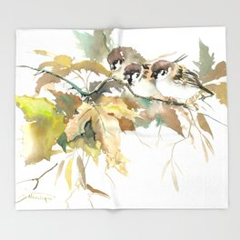 Sparrows and Fall Tree Throw Blanket