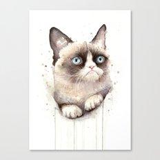 Grumpy Watercolor Cat Animals Meme Geek Art Canvas Print