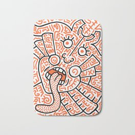 """The Face"" - inspired by Keith Haring v. orange Bath Mat"