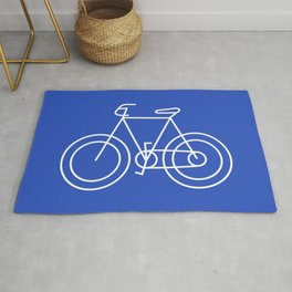 Minimalist Bike on Cerulean Blue Background Rug