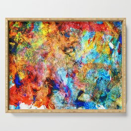 abstract drawing by hand oil paints. background, texture Serving Tray