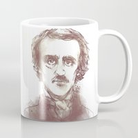 edgar allen poe Mugs featuring Edgar Allen Poe by Andrew Brennan