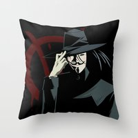 vendetta Throw Pillows featuring V for Vendetta (e1) by Ezgi Kaya