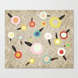 Flowers Vintage Brown Polka dots Canvas Print