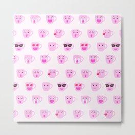 Pink Coffee mug emoji Metal Print