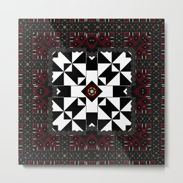 MultiGeometical Pattern mini Gold and Pewter Mandalas Metal Print