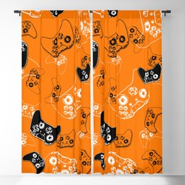 Video Game Orange Blackout Curtain