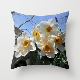 Sunny Faces of Spring - Gold and White Narcissus Flowers Throw Pillow