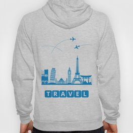 Travel concept with landmarks Hoody