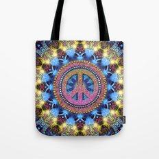 Groovy Hippie Love Mandala Tote Bag