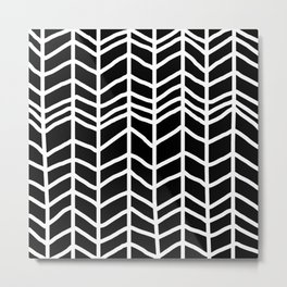 black and white chevron Metal Print