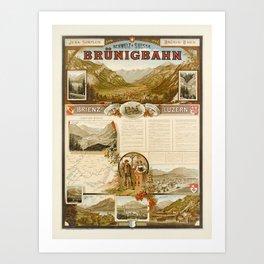 vintage placard jura simplon brunig bahn brienz luzern bernese oberland Art Print