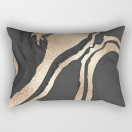 Modern Chic Black Gold Painted Abstract Marble Rectangular Pillow