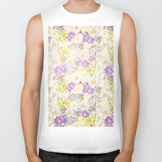 Vintage pattern- Spring in purple and yellow- daffodils and anemones Biker Tank