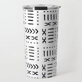 White Black Mud Cloth Pattern Travel Mug