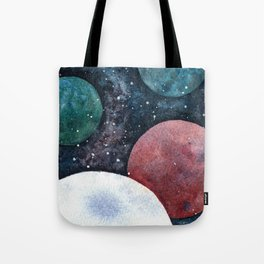 Journey through the cosmos. Alien planet watercolor Tote Bag