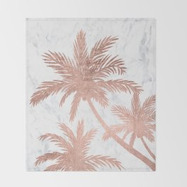 Tropical simple rose gold palm trees white marble Throw Blanket