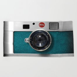 Blue Teal retro vintage camera with germany lens Beach Towel
