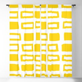 Mid Century Modern Abstract Squares Pattern 442 Yellow Blackout Curtain