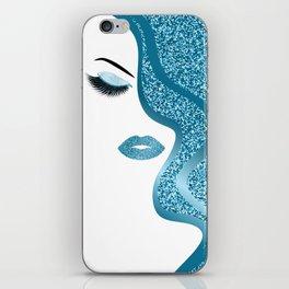 Blue glitte woman iPhone Skin