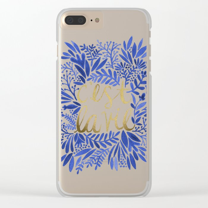 That's Life – Gold & Blue Clear iPhone Case