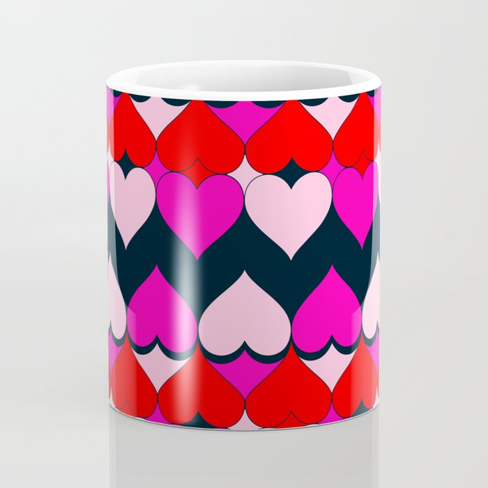 Multi Hearts Red Pink Navy Coffee Mug