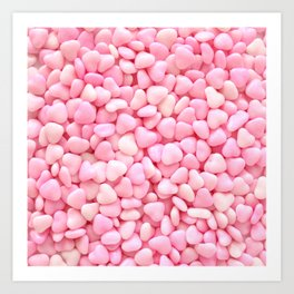Pink Candy Hearts Art Print
