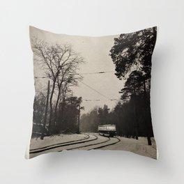 forest tram Throw Pillow