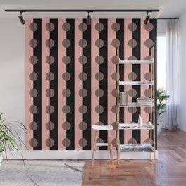 Horizons Geometric Stripes - Peach Pink & Black Wall Mural