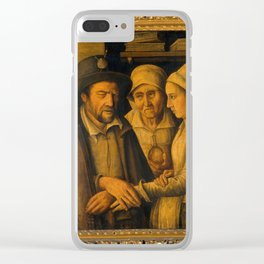 Maistre Robert, a blind healer healing by laying-on of hands. Oil painting. Clear iPhone Case