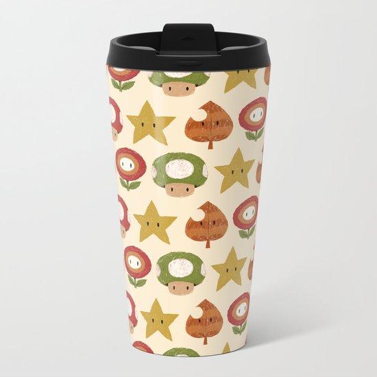 mario items pattern Metal Travel Mug