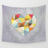 home sweet home Wall Tapestries featuring Home Sweet Home by cafelab
