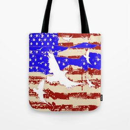 AMERICANA FLAG & WHITE EAGLES FROM  SOCIETY6 BY SHARLESART. Tote Bag