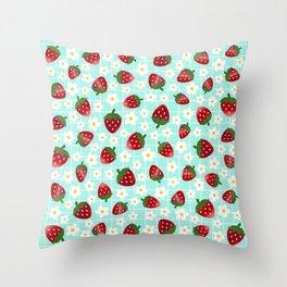 Sweet Strawberries - seafoam  Throw Pillow