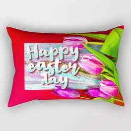 Happy Easter Day with Tulip Bouquet Rectangular Pillow