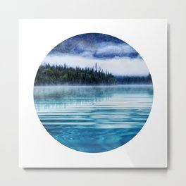 Blue Tranquil Lake Scenery Circle Metal Print