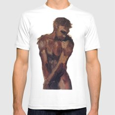 One White MEDIUM Mens Fitted Tee