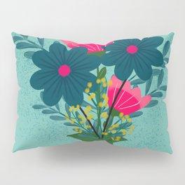 Blue Pink Bouquet Pillow Sham