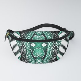 Abstract Wildlife Animal Pattern Study Emerald Green Fanny Pack