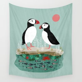 Puffins - Bird Art, Shorebird, Sea bird, birds, Cute illustration by Andrea Lauren Wall Tapestry