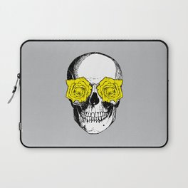 Skull and Roses | Grey and Yellow Laptop Sleeve