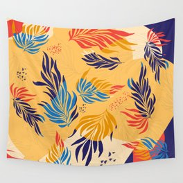 Primary Colors Leaves Wall Tapestry