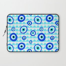 Evil Eye Charms Blue and White Pattern Laptop Sleeve